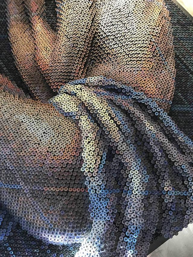 Необыкновенная картина из простых саморезов (13 фото)