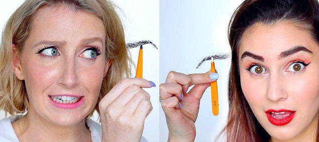 Ноу-хау в обществе дамского макияжа, парик для бровей.