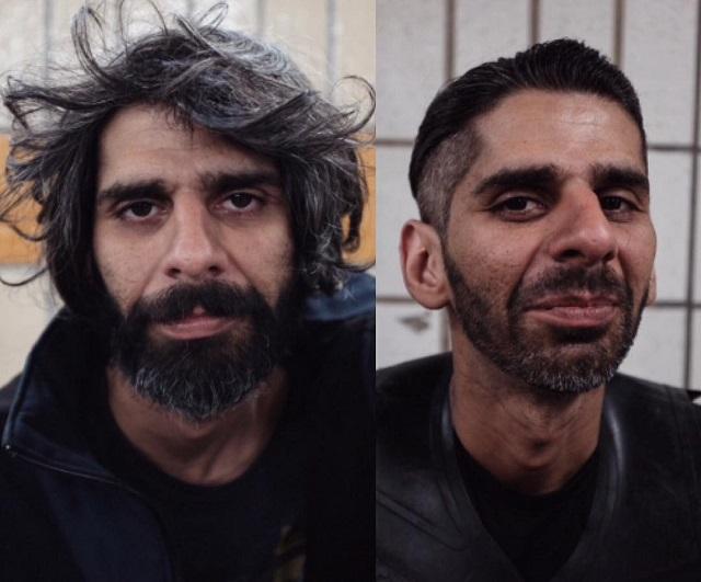 Барбер из Великобритании задаром стрижет бомжей и мотивирует их начать новую жизнь (24 фото)