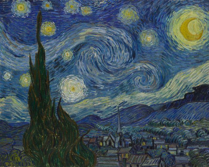 Через более 100 лет получилось осознать, то что изображено на картине Ван Гога «Звездная ночь» (6 гифок)